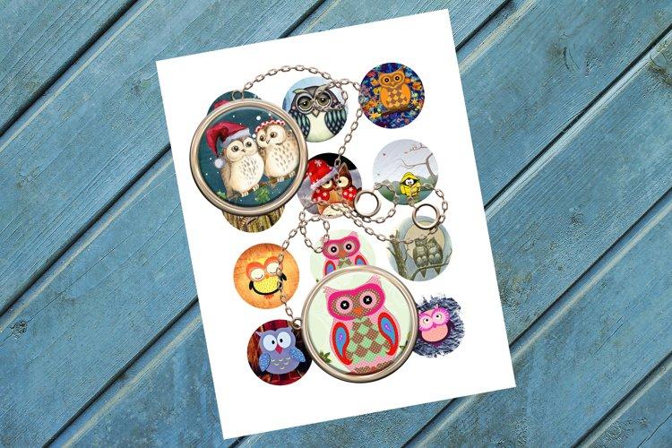 Owls,Circle Bottle Cap,Pendants,Bird,Collage Art,50OFF,SALE