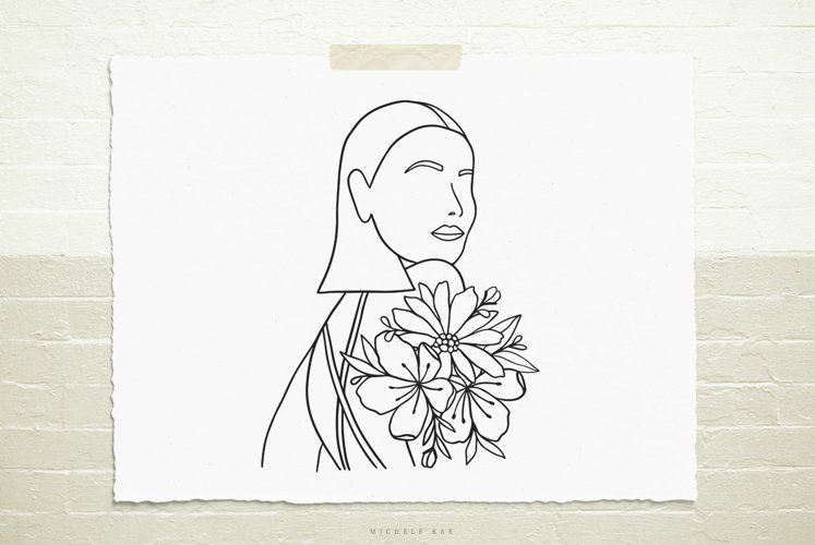 Female silhouette with flowers SVG, Cutting file, Decal example image 1