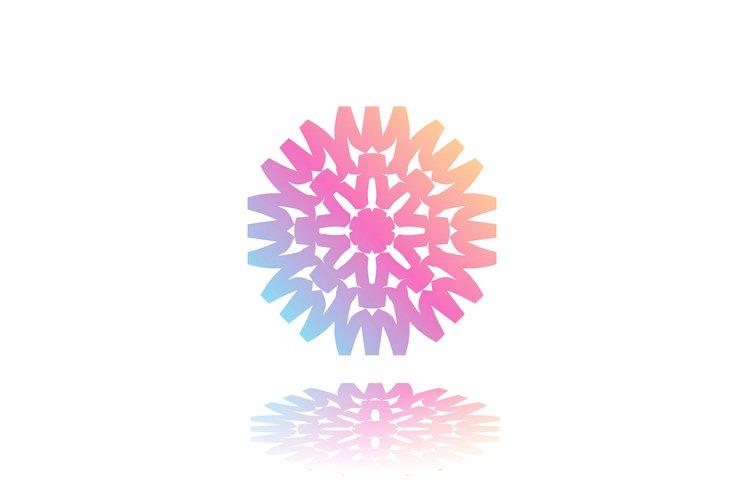 Round gradient mandala on white isolated background. Vector example image 1