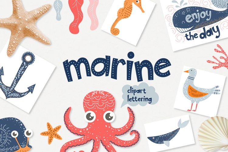 Marine - clipart & lettering example image 1