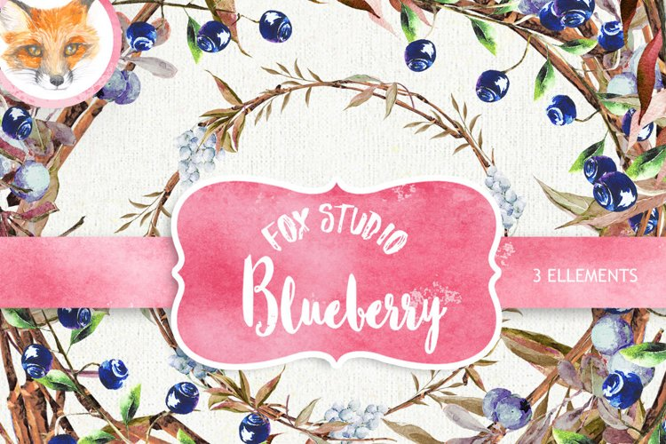 Watercolor clipart, blueberry clipart, clip art wreath example image 1