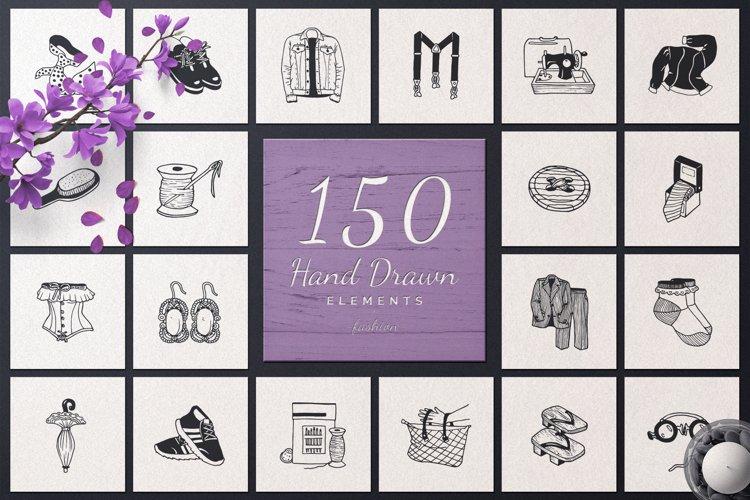 150 Hand Drawn Elements -Fashion- example image 1