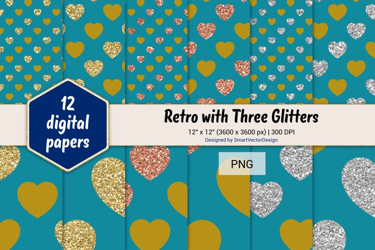 Hearts Retro with Three Glitters Color Combo #41 example image 1
