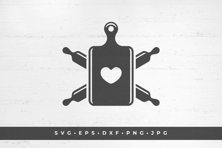 Cutting board with heart and crossed rolling pins example image 1
