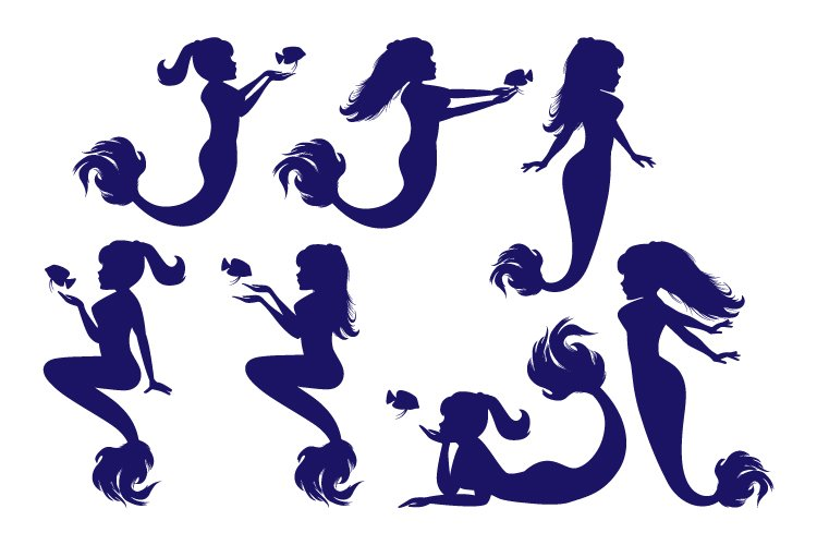 mermaid silhouette, simple vector illustration example image 1