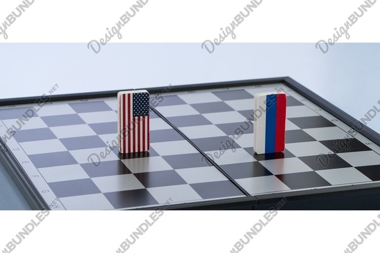 Flag of Russia and the United States on the chessboard example image 1
