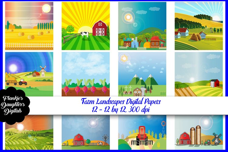 Farm Landscapes Digital Papers example image 1
