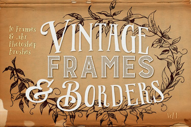 Vintage Frames and Borders plus Photoshop Brushes example image 1