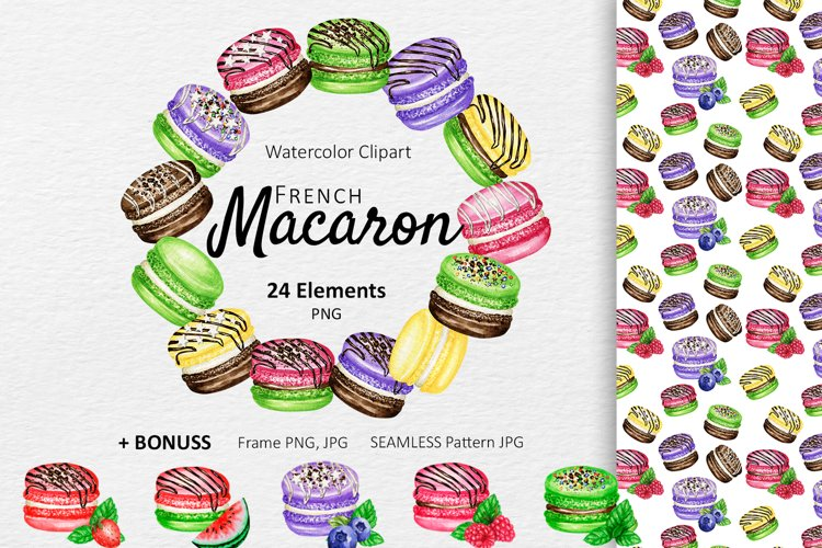 Macaron Watercolor Clipart Dessert Cookies, French Sweets example image 1