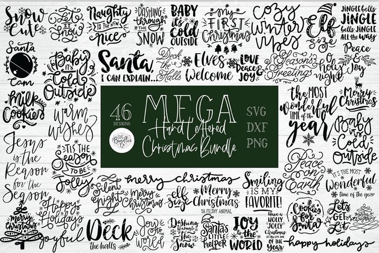 MEGA HAND LETTERED CHRISTMAS SVG BUNDLE - Also in DXF & PNG example image 1