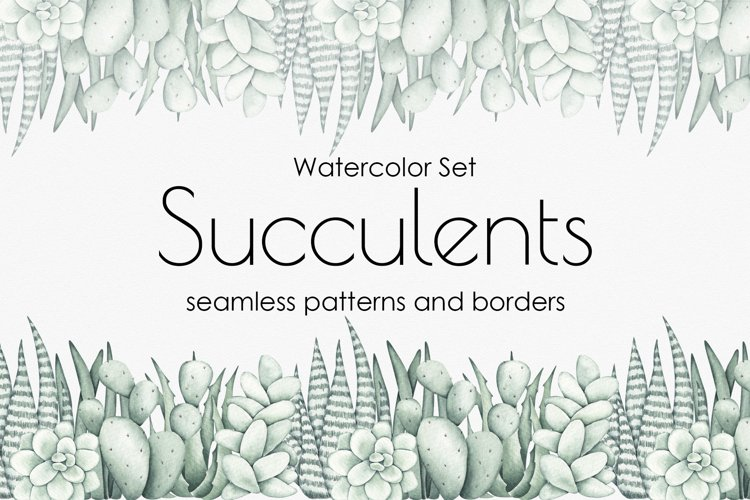 """Watercolor Pattern Set """"Succulents"""" example image 1"""