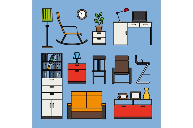 Furniture and home accessories icons example image 1