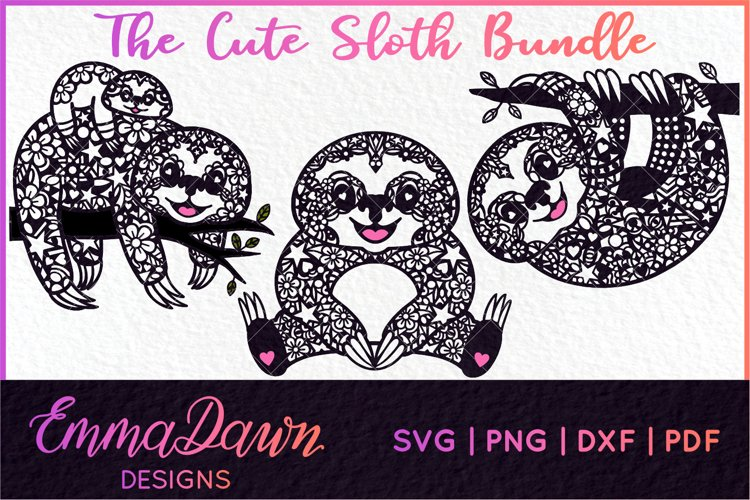 THE CUTE SLOTH SVG BUNDLE MANDALA / ZENTANGLE 3 DESIGNS example image 1