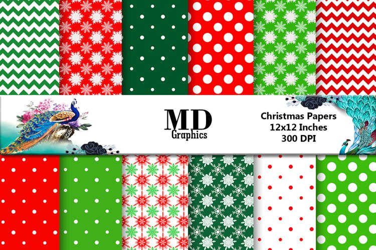 Christmas Papers, Scrapbooking Digital Papers, Printable example image 1
