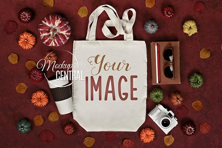Fall Autumn Tote Bag Mockup JPG, Flat Lay Photo example image 1