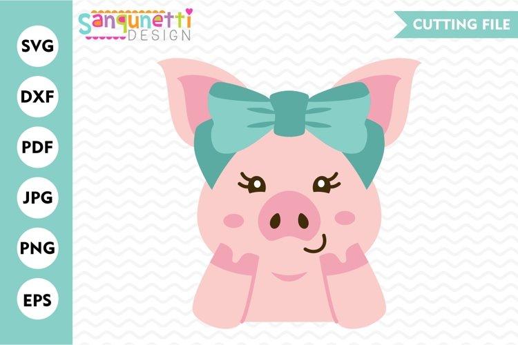 Pig with bow svg, girls farm animal digital art example image 1