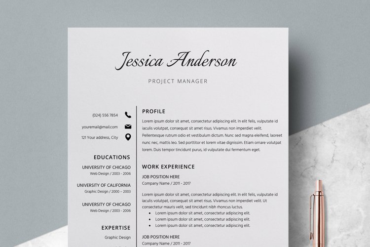 Resume Template | CV Cover Letter - Jessica Anderson