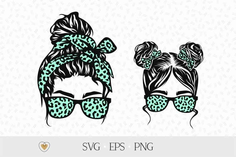 Mom and daughter with messy bun svg, Mom life svg