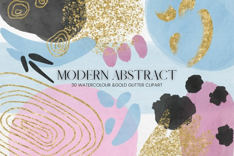 Modern Abstract and Watercolour Shapes Clipart