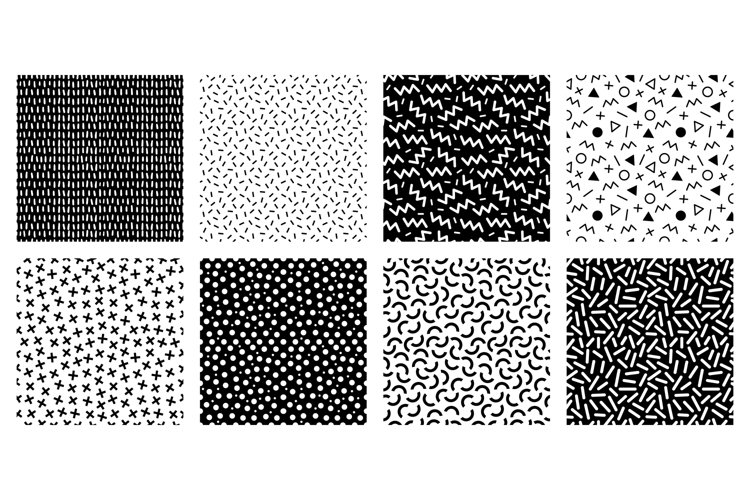 Memphis seamless patterns. Geometric lines and dots texture,