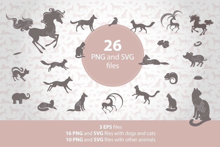 Animal silhouettes clipart, Pet patterns, SVG, EPS, PNG