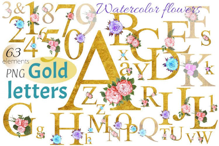 Alphabet of gold letters and numbers with watercolor flowers example image 1