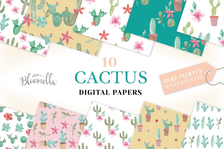 Cactus Seamless Patterns Watercolor Succulent Cacti Papers example image 1