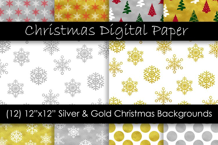 Gold & Silver Christmas Digital Paper - Snow Backgrounds