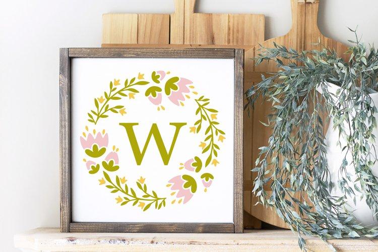 Floral monogram frame Cicut SVG cut file, Spring frame svg example 4