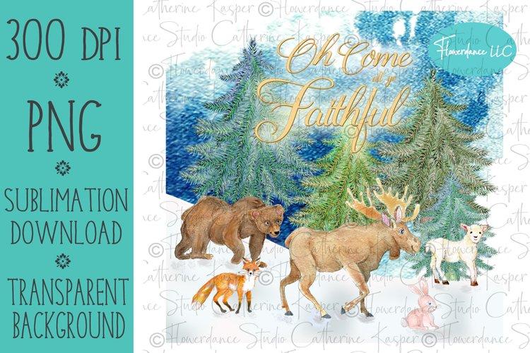 Woodland Animals PNG Christmas Sublimation Design example image 1
