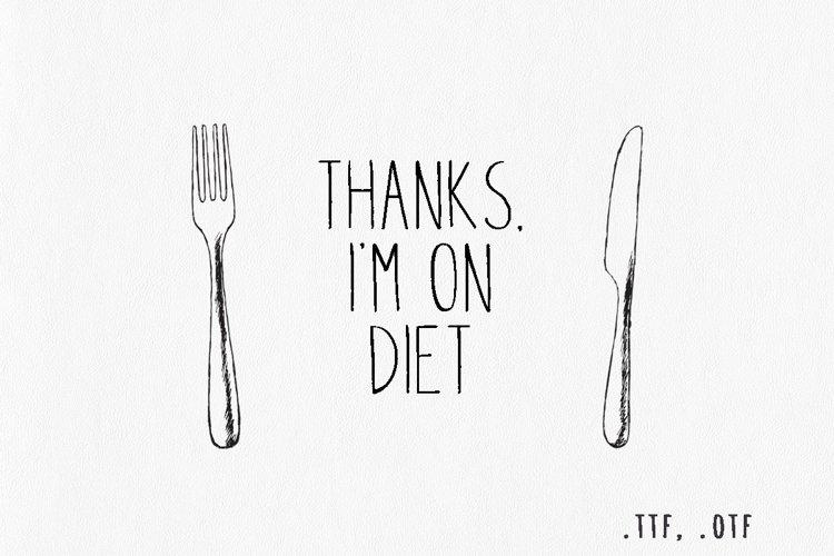 Thanks, i'm on diet. Handwritten font example image 1