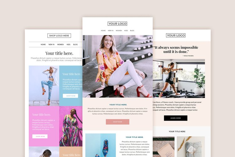 3 Email templates bundle, Mailchimp email template.