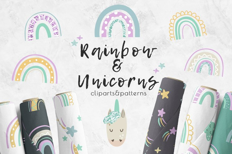 Kids patterns and clipart. Rainbow