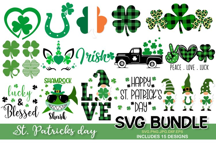 St. Patrick's Day SVG Bundle, clover svg, shamrock svg example image 1