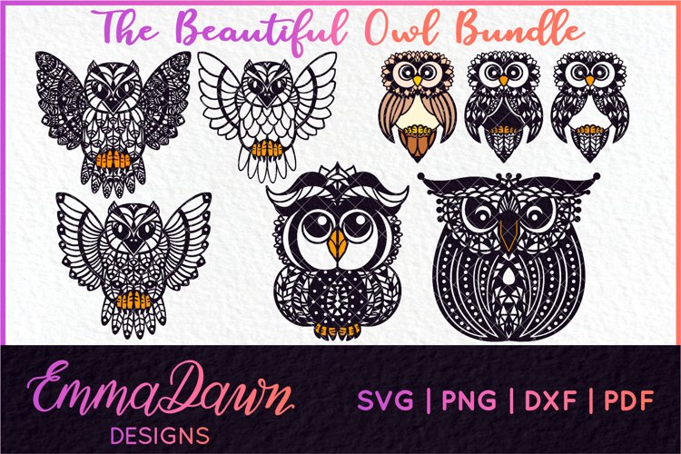 THE BEAUTIFUL OWL SVG BUNDLE MANDALA / ZENTANGLE 4 DESIGNS example image 1