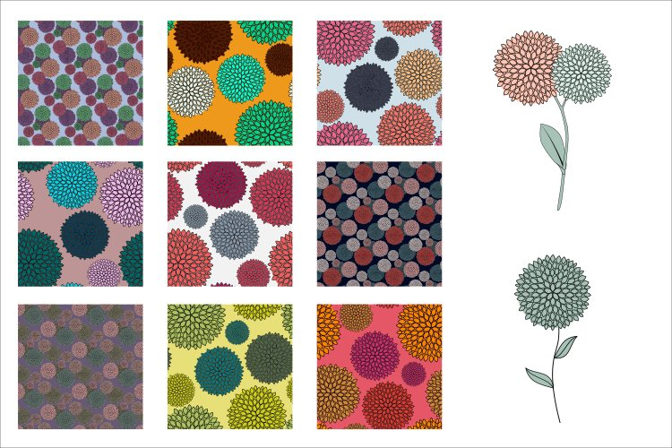 Set of 9 Simple colored Flower Seamless pattern and 2 flower