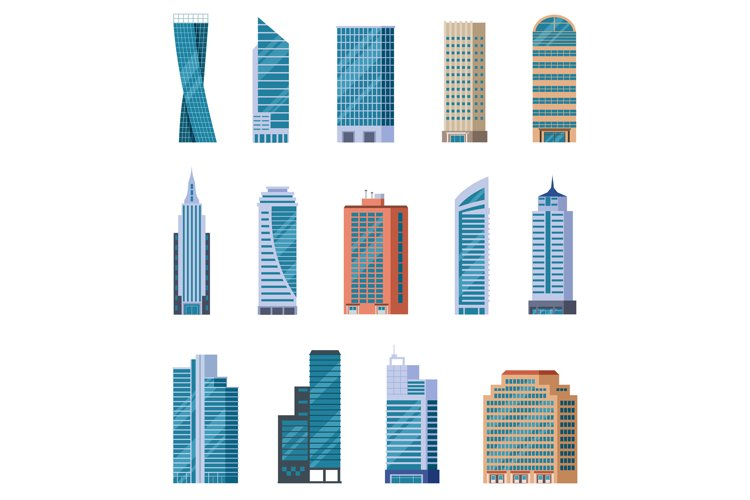 Flat skyscrapers. Exterior of modern city buildings. Residen example image 1