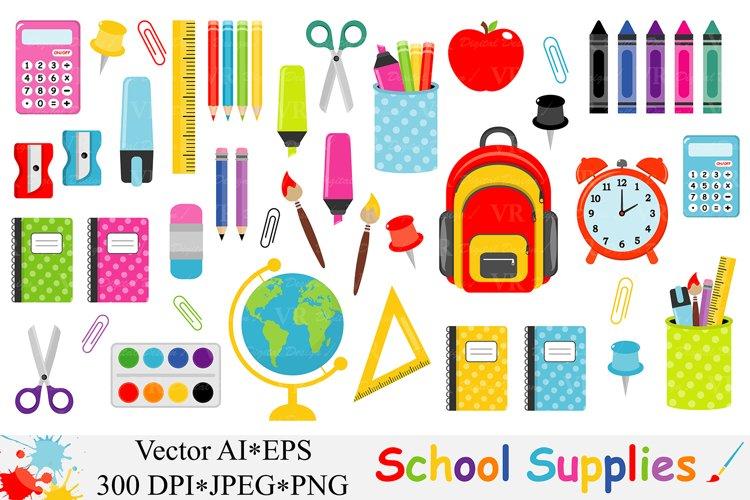 School Supplies Clipart, Back to School Clipart - Vector