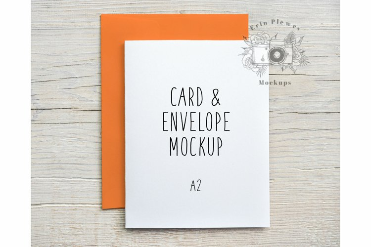 Mockup A2 Card Orange Envelope   Card Flat Lay Template Jpeg
