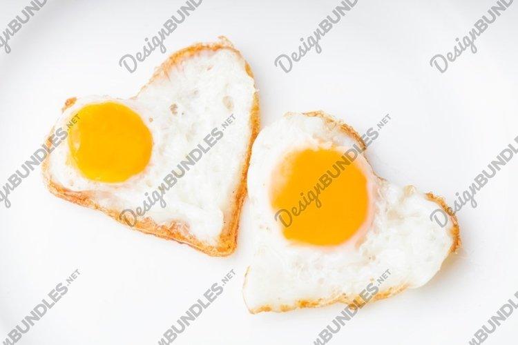 Heart shape fried eggs