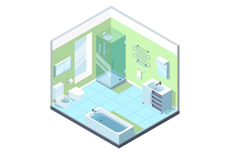 Bathroom interior with different furniture elements. Vector example image 1