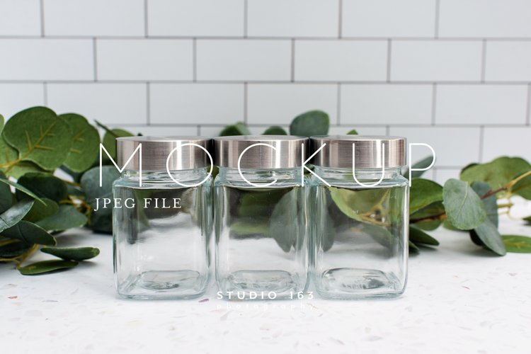 Spice Jar Mockup, Glass Jar Mockup, Stock Photo, JPEG example image 1