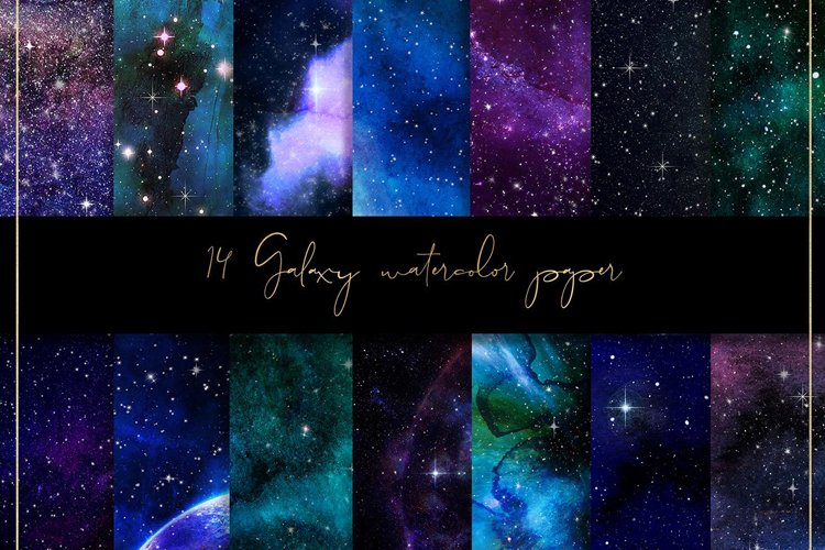 Galaxy watercolor digital paper