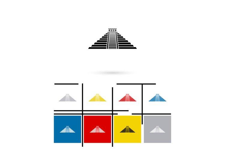 Mexican mayan pyramid icon vector example image 1