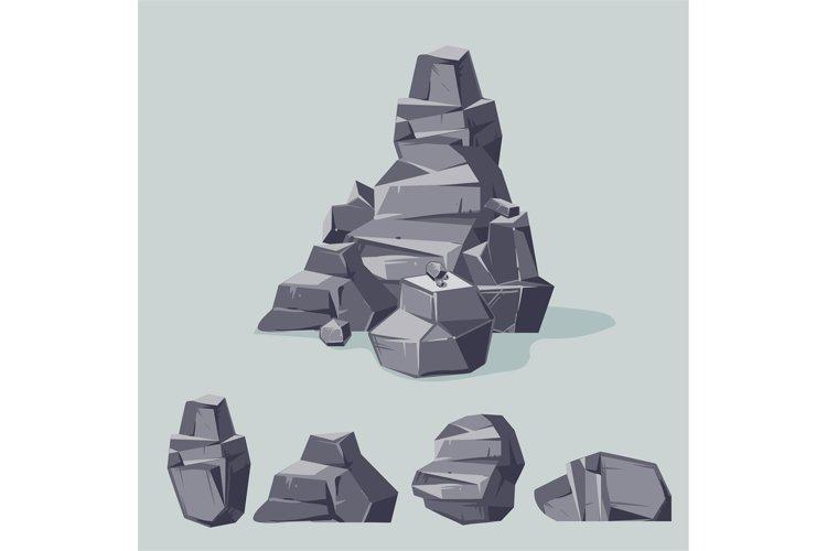 Set of mountain gray rocks. Cartoon isometric 3d flat style. example image 1