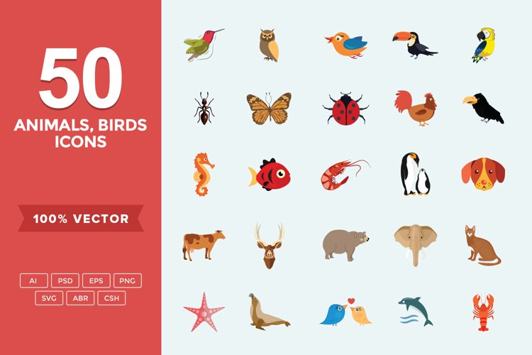 Animals, Birds and Insects Flat Icons Set