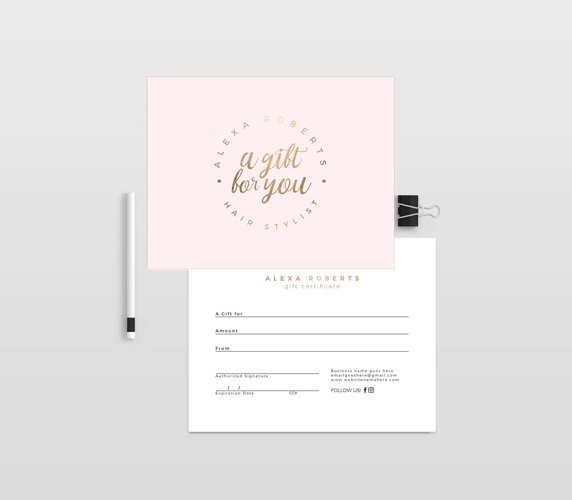 Millas V2 gold double sided gift certificate template example image 1