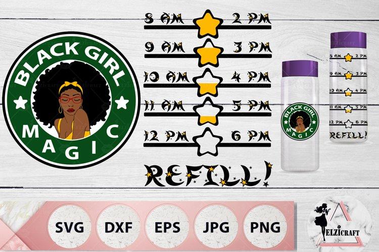 Water Bottle Tracker Black Girl Magic, Afro Woman SVG Files