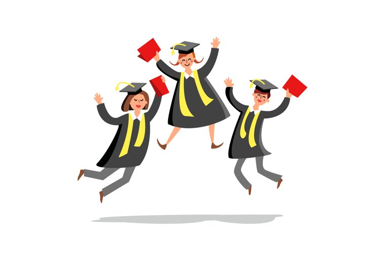 Students Jumping And Celebrate Graduation Vector