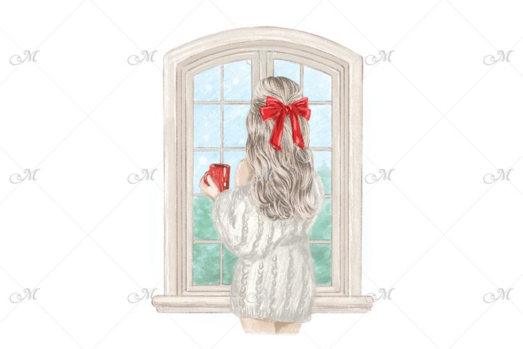 Girl in Christmas Illustration - PNG/JPEG/PSD example image 1